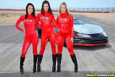 Best girls fucks on the race track with champions