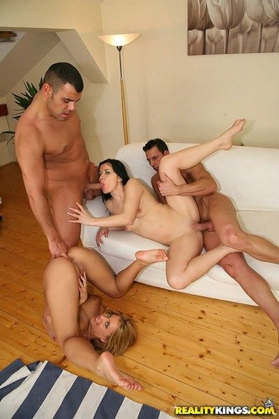 Two flexible girls gets fucked relating to all respects holes