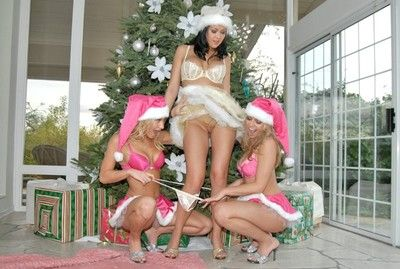 Three sexual babes in lesbian xmas party