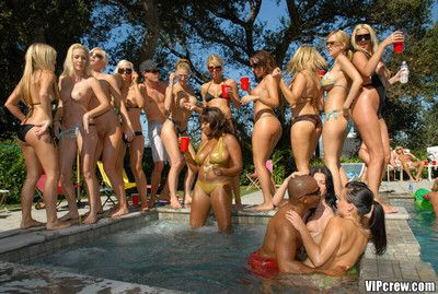 Vip babes sucks coupled with fucks in lewd pool orgy