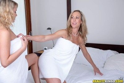 Teen mia malkova and her step progenitrix brandi love fucks in triptych