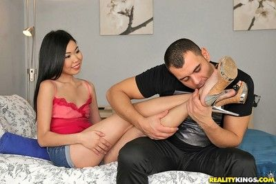 Russian asian teen nicoline yiki takes big american cock