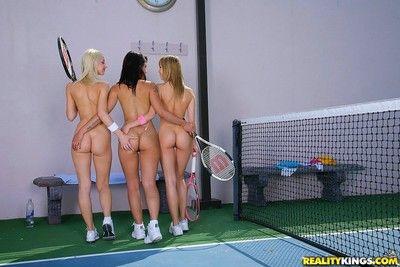 Teen lesbians play tennis vefore depraved lesbo orgy
