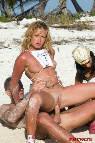 Four sexy sluts playing olympics the anal games on the beach