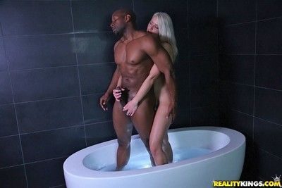 Bigassed blonde annika albrite takes bbc in the sanitary