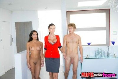 Young with the addition of mature latinas fucked in threesome