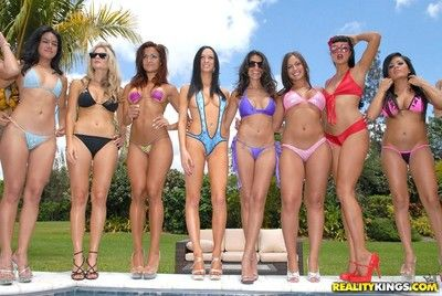 Great bikini stripe time with sexual girls