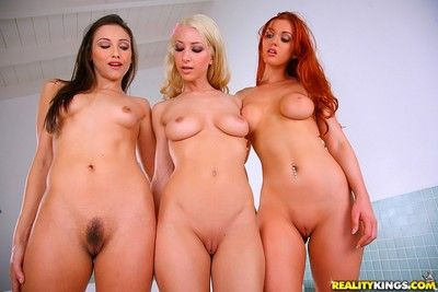 Three top lesbians taking shower together
