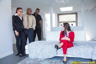 Mischa brooks fucked in her fantasy with two funereal guys