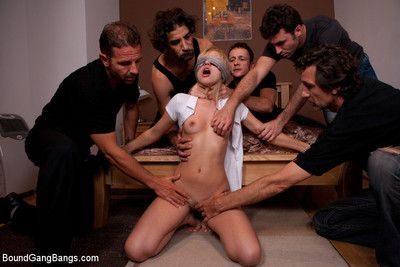 Sasha gets tied up, & surprised by multiple dicks in her holes!