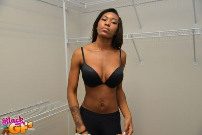 Tiro ebony Nadia is undressing thither the bathroom, taking selfshots