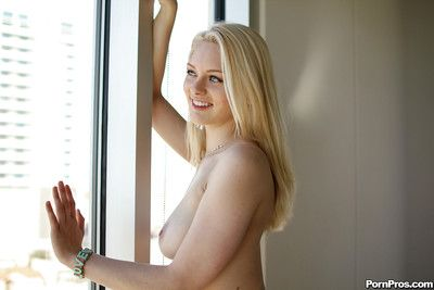 Busty blonde girlfriend Alli Rae poses for naked homemade sexual congress shots