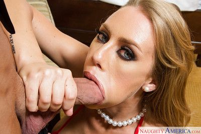Sexy blonde Nicole Aniston jerks and blows beamy wood to cumshot