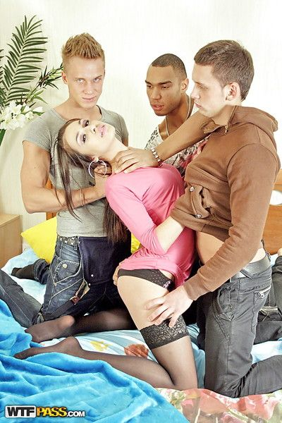 Horny amateur in stockings enjoys a hardcore gangbang front