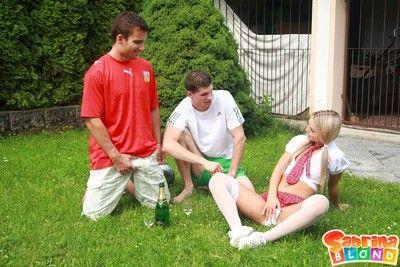 Small teen schoolgirl gets dped outdoors