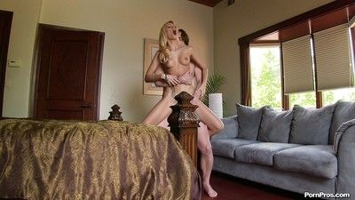 Horny blonde not far from hot botheration Erica Fontes sucks and fucks a big cock
