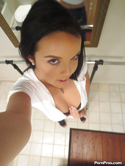 Impenetrable girlfriend Dillion Harper is doing self shots to the fullest undressing