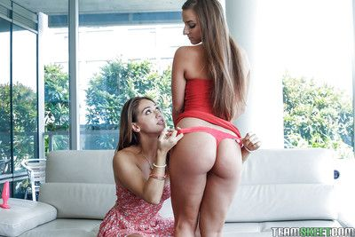 18 realm elderly cuties Amirah and Sara ID and toying each others asshole