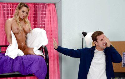 Blonde coed Cali Carter seduces sex relative to fat boob exposure and blowjob