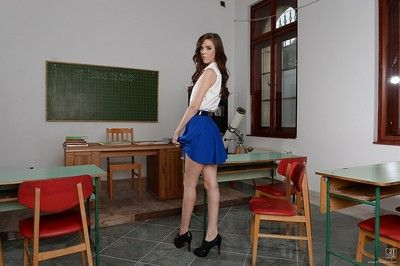 European schoolgirl Megan Maze shows off while undressing her comprehensive