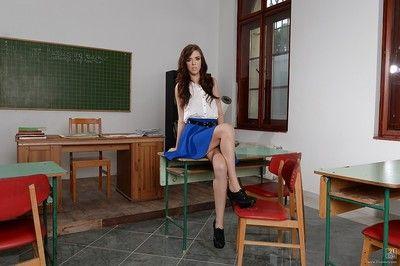 European schoolgirl Megan Maze shows off while undressing her comprehensive