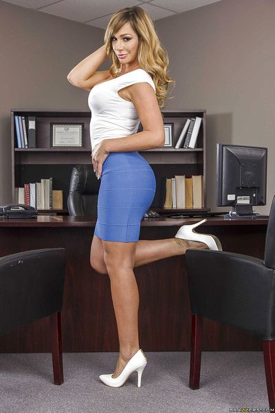 Schoolgirl with big tits Kismet Dixon poses in the office so off colour