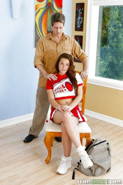 Unstained teen cheerleader Talia Palmer is boffed by mature leash