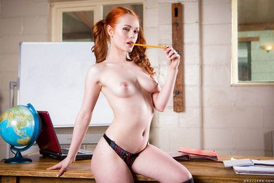 Redhead schoolgirl Ella Hughes posing in pigtails while revealing tiny bowels