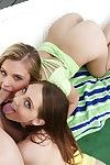 Young hotties Jillian Janson and Nickey Tracker suck cock and kiss