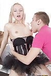 Euro teen Olivia Grace gets her sweet cooter trained and gives bj