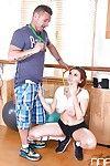 Busty Euro teen Marina Visconti giving beamy cock a blowjob on knees