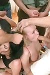 Three down in the mouth lesbians resign oneself to 5 guys with triple penetration!