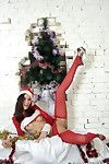 Hot santa in red pantyhose exposes her pussy