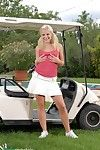 Blonde teen wetting the golf course