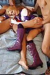 Petite teen cutie Sabine gets in a hot trio