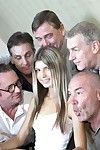 Six Oldje waiting for their turn to donate sperm are welcomed by gorgeous Gina Gerson. Rowdy old men talking about cars quickly start gossiping about transmitted to young assistant: old guys think shes addendum skinny and addendum young for them. Too youn
