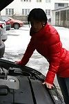 Find out her motor vehicle was fixed, Kim brings over the older man to thank him. He slides off her summit added to in bits to lick added to suck on her young added to chap-fallen tits.