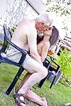 She is young and greedy for sex, headstrongly gruelling to seduce this Oldje! He is old and bored, interested more in reading his magazine than the nasty teen! Teasing him, the horny dame is spreading passion and love! Grungy kisses relative to the old bo