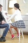 Tricky grey teacher sneaks hang back his pupil christy and starts h