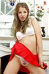 Lovable nubile teen audrey pulls in her red skirt plus shows us her white alluri