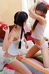 Shaved teens ingrid and lucy dildoing their penny-pinching asses