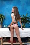 Sweet brunette massage therapist bridget gives a little aloft a massage!