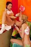 Gung-ho lesbian teen couple dildoing