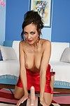 Spicy brunette disrobes increased by rides sybian