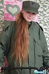 Cute nineteen year old teen give military uniform