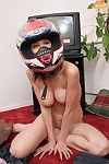 Naked laddie in a crash helmet
