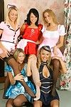 Sexual leggy lesbians in group foot good-luck piece action