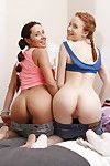 Twosome petite 18 year old girls in their first ffm threesome