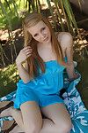 Blonde teen strips naked outdoor
