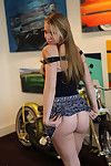 Blonde teen tease in short skirt